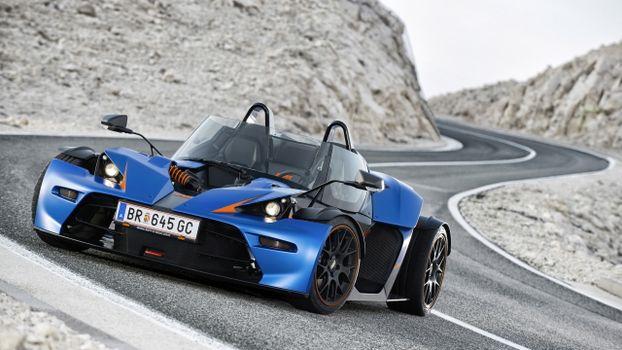 Photo free convertible, ktm x-bow, blue sportscars
