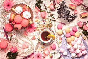 Фото бесплатно chay, pirozhnye, makaruny