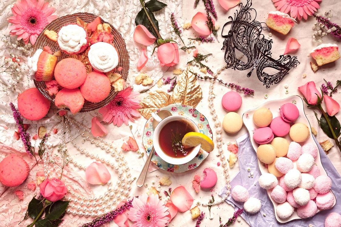 Фото бесплатно chay, pirozhnye, makaruny - на рабочий стол