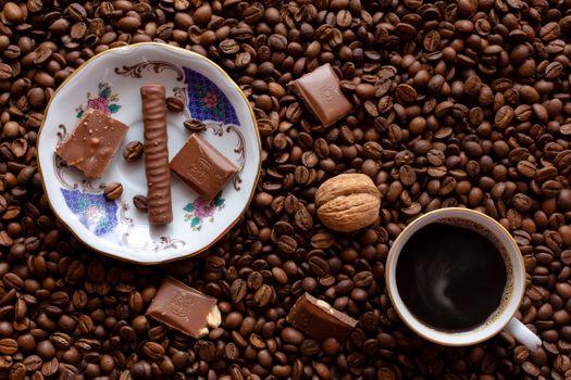 Кофе и шоколад · бесплатное фото
