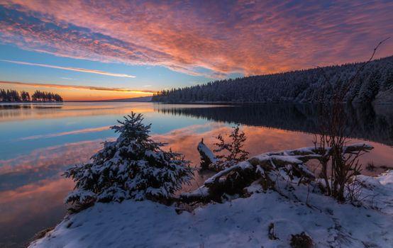 Заставки озеро, закат, природа