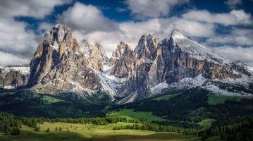 Бесплатные фото Альпы, Доломиты, Италия, горы, поля, холмы, деревья