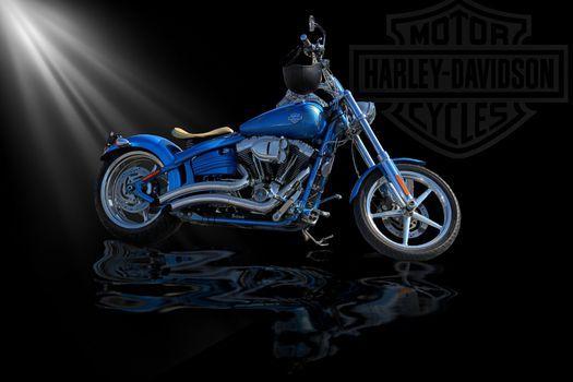 Фото бесплатно Harley Davidson, черный фон, мотоцикл