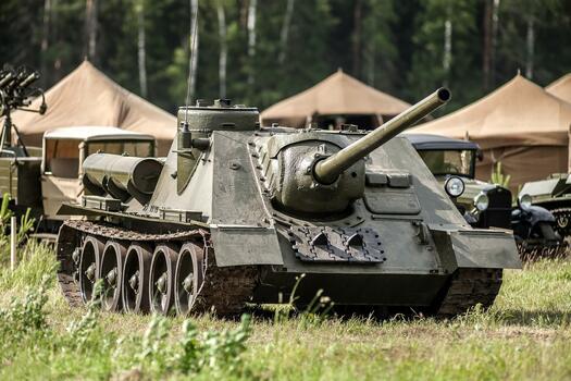 Photo free field, weapons, tank