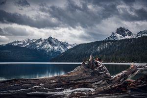 Фото бесплатно темная погода, горы, озеро