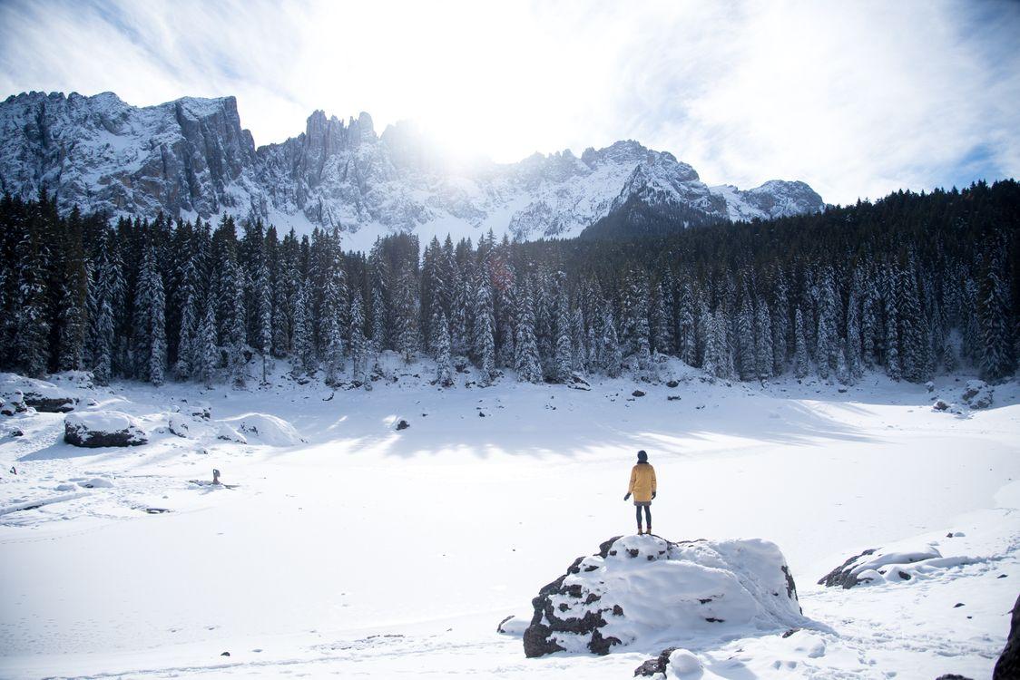 Free photo mountains, winter, man - to desktop