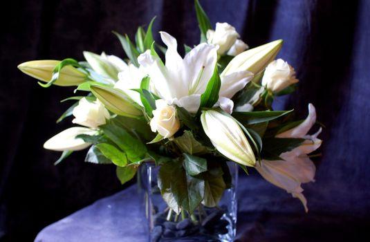 Фото бесплатно лилии, белые, ваза