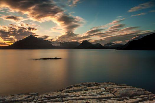 Фото бесплатно закат, облака, озеро