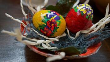 Фото бесплатно цветные яйца, пасха, еда
