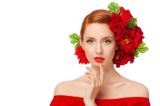 Фото бесплатно цветы, голубые глаза, красный