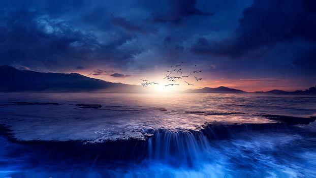 Photo free sunset, sea, waterfall