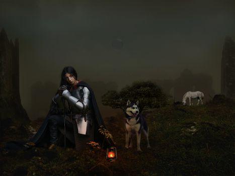 Фото бесплатно девушка рыцарь, собака, лошадь, ночь, лампа, фотошоп, фантазия, art