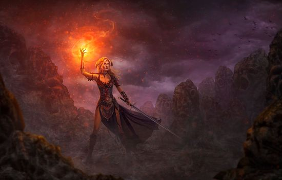 Заставки девушка - воин, огонь, девушка с мечом