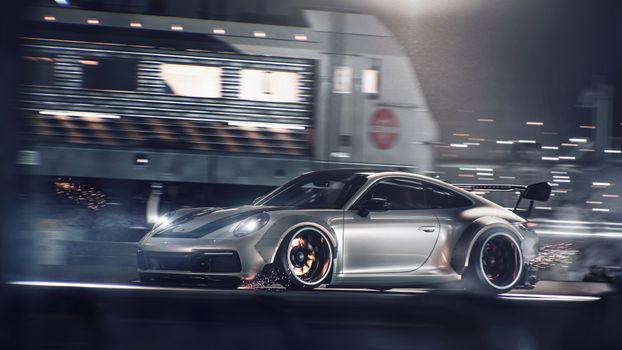 Photo free porsche 911 carrera 4s, sparks, racing supercars