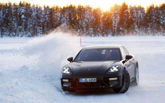 Заставки Porsche, черный, снег