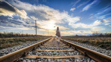 Фото бесплатно закат, солнца, железная дорога