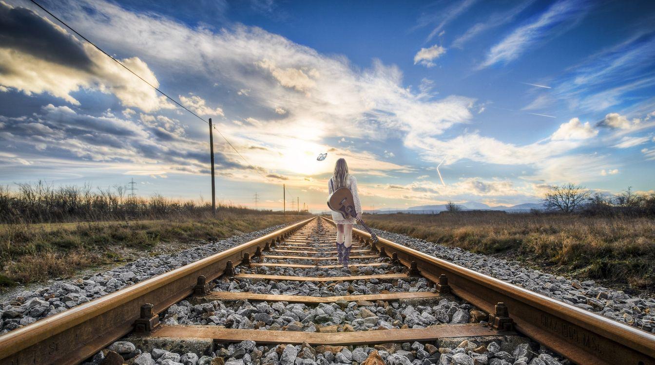Фото бесплатно закат, солнца, железная дорога - на рабочий стол