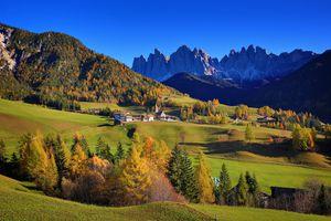 Бесплатные фото Больцано,Венето,Италия,осень,горы,дома,поля