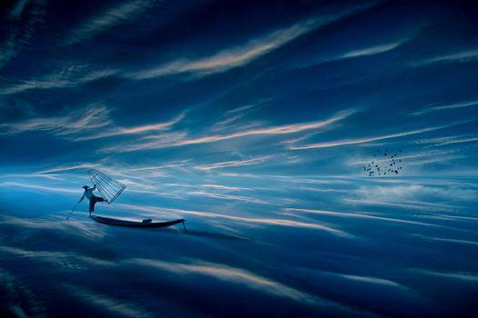 Фото бесплатно море облаков, фантазия, фотошоп