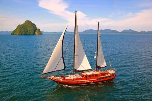Photo free sea, island, yacht