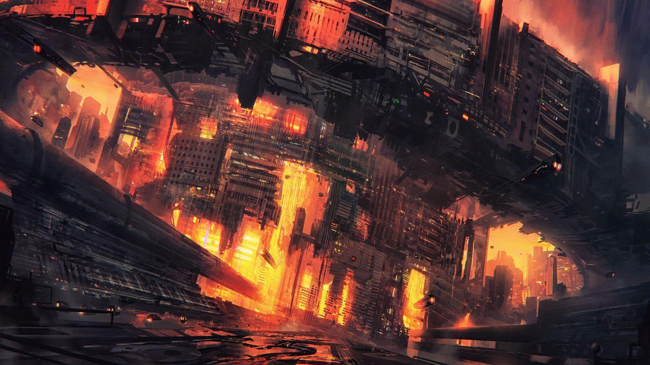 Фото киберпанк город концептуальное искусство - бесплатные картинки на Fonwall