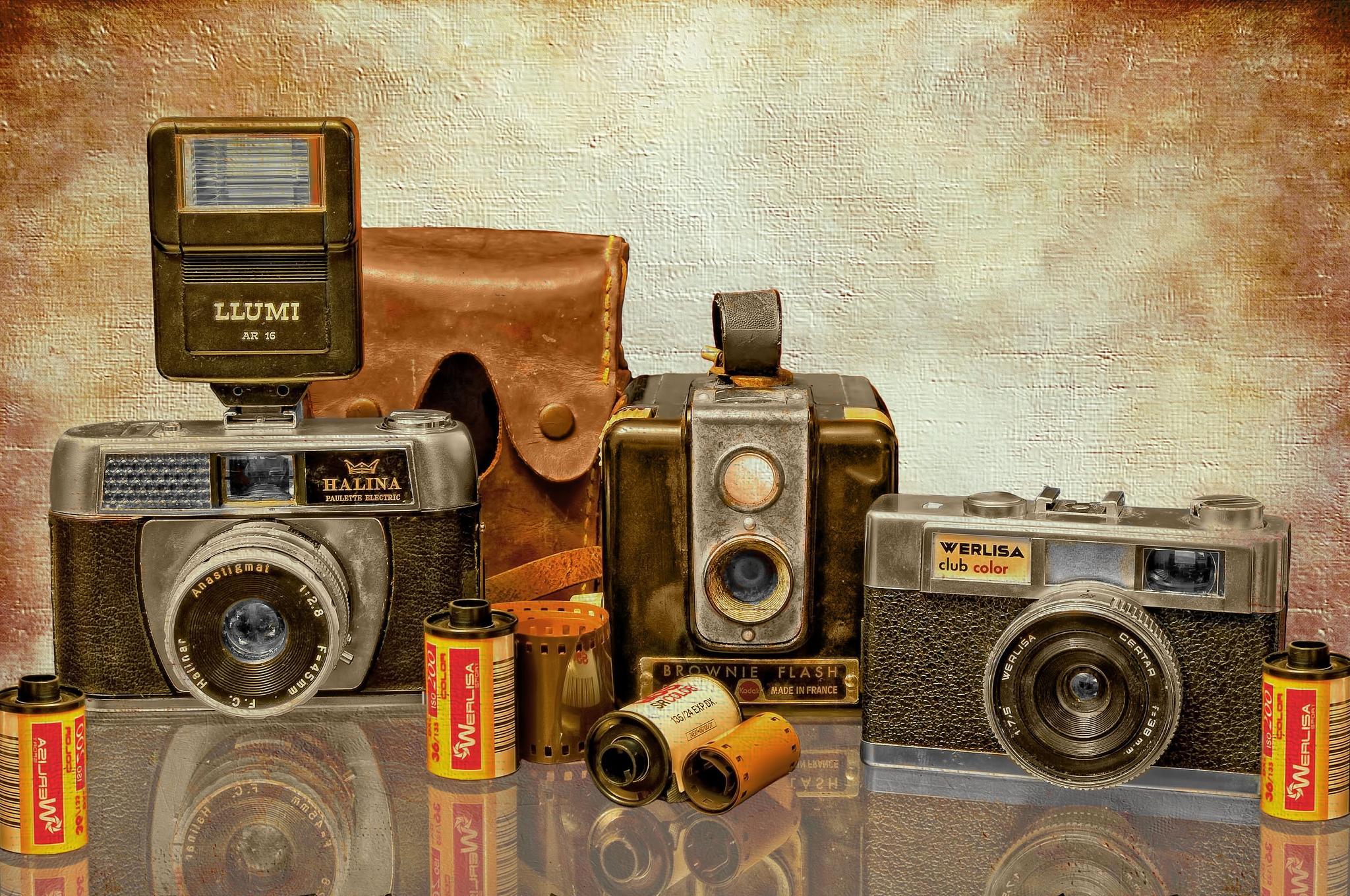 Обои фотоаппарат, плёнка, ретро, art