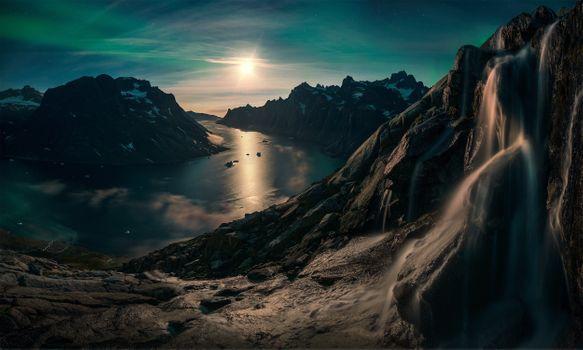 Заставки водопад, горы, лунный свет
