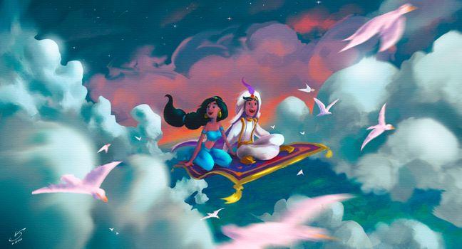 Фото бесплатно Aladdin, Jasmine, Artist