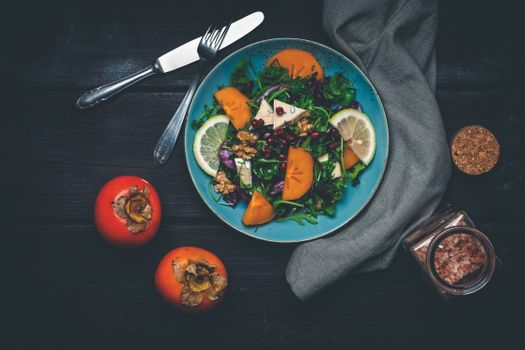 Photo free food, knife, persimmons