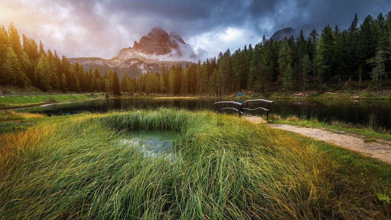 Фото Lake Antorno Итальянские Доломитовые Альпы - бесплатные картинки на Fonwall