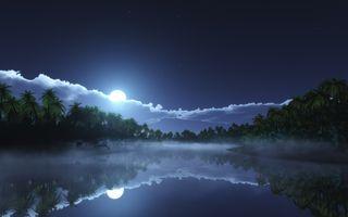 Фото бесплатно озеро, звезды, ночь