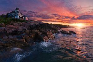 Фото бесплатно побережье, закат, местности