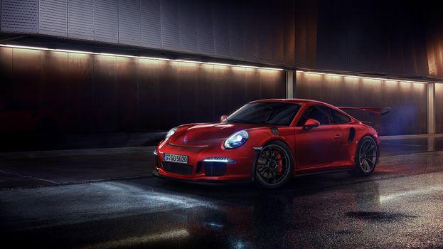 Фото бесплатно Porsche GT3, красный, фары