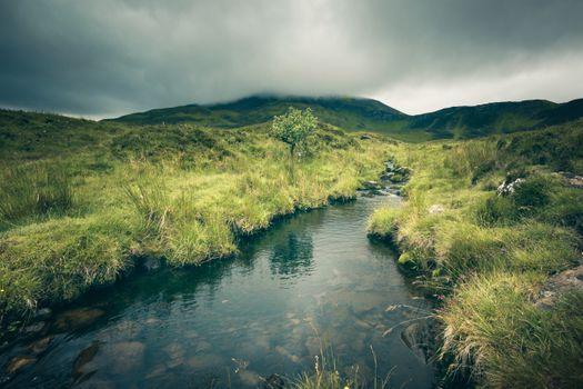 Photo free Scottish highlands, hill, river