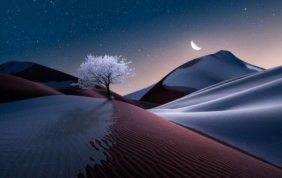 Заставки ночь, месяц, холмы