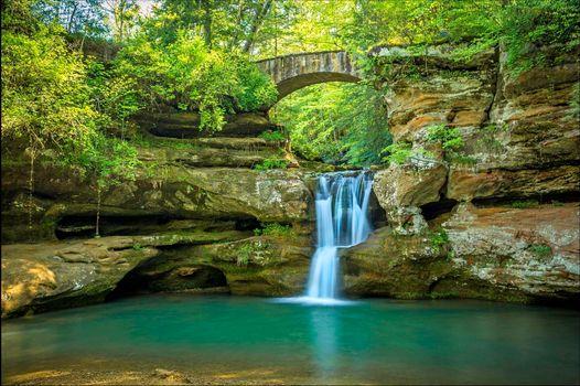 Фото бесплатно Пещера старика, Огайо, река, мост, арка, водопад, пейзаж