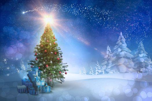 Рождественский фон с елкой · бесплатное фото