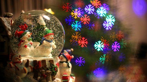 Фото бесплатно рождество 2018 года, свет, снежинки