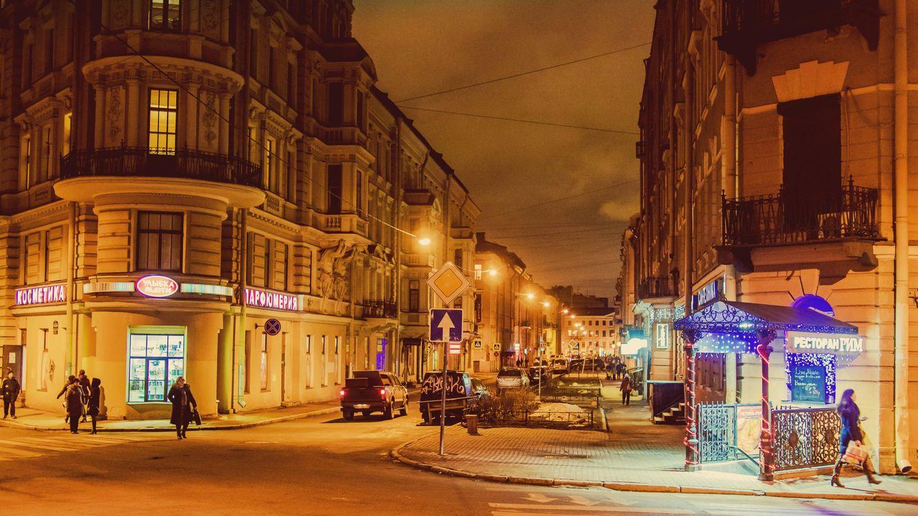 Фото бесплатно Санкт-Петербург огни города Грибоедов Канал Зима Россия, город