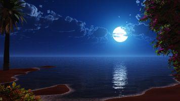 Фото бесплатно море, остров, луна