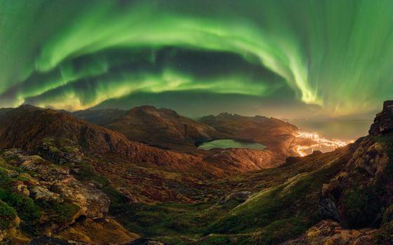 Фото бесплатно Аврора, северное сияние, мини-озеро