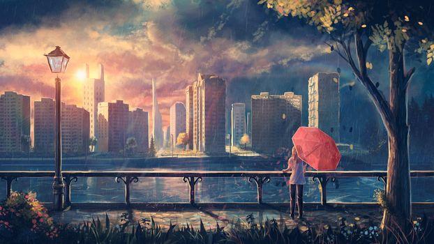 Фото бесплатно фантазия, городской пейзаж, небоскреб
