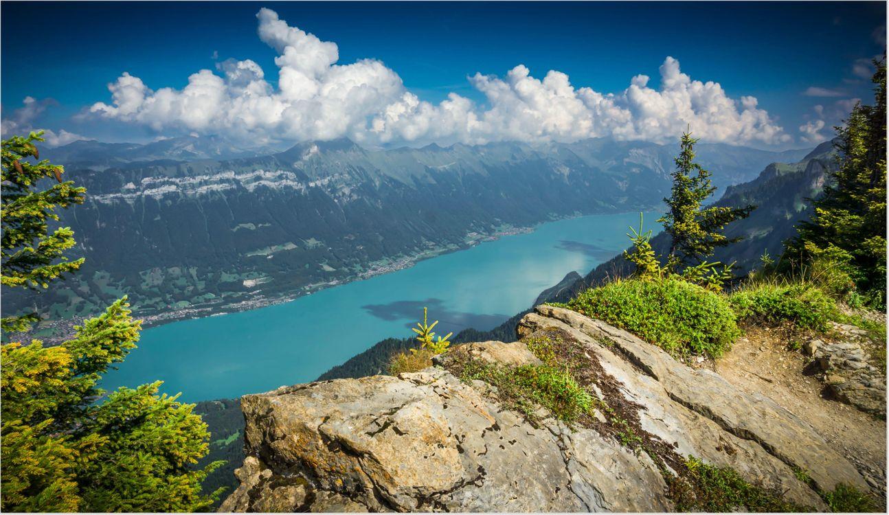 Фото бесплатно Lake Brienz, Switzerland, река, горы, скалы, деревья, небо, облака, пейзаж, пейзажи