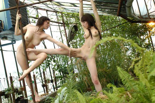 Голые девушки в саду