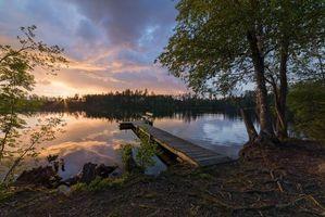 Бесплатные фото закат, озеро, мостик, причал, деревья, пейзаж