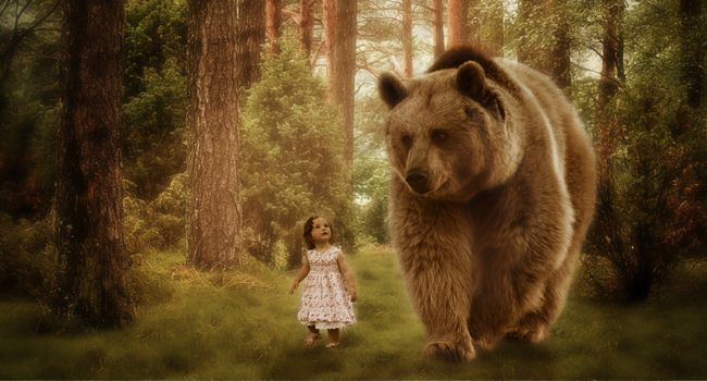 Фото бесплатно друзья, медведь, ребенок