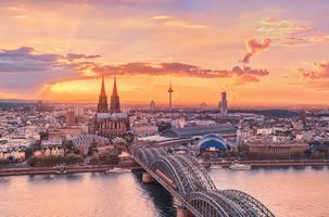 Photo free sunset, Cologne Cathedral, Cologne
