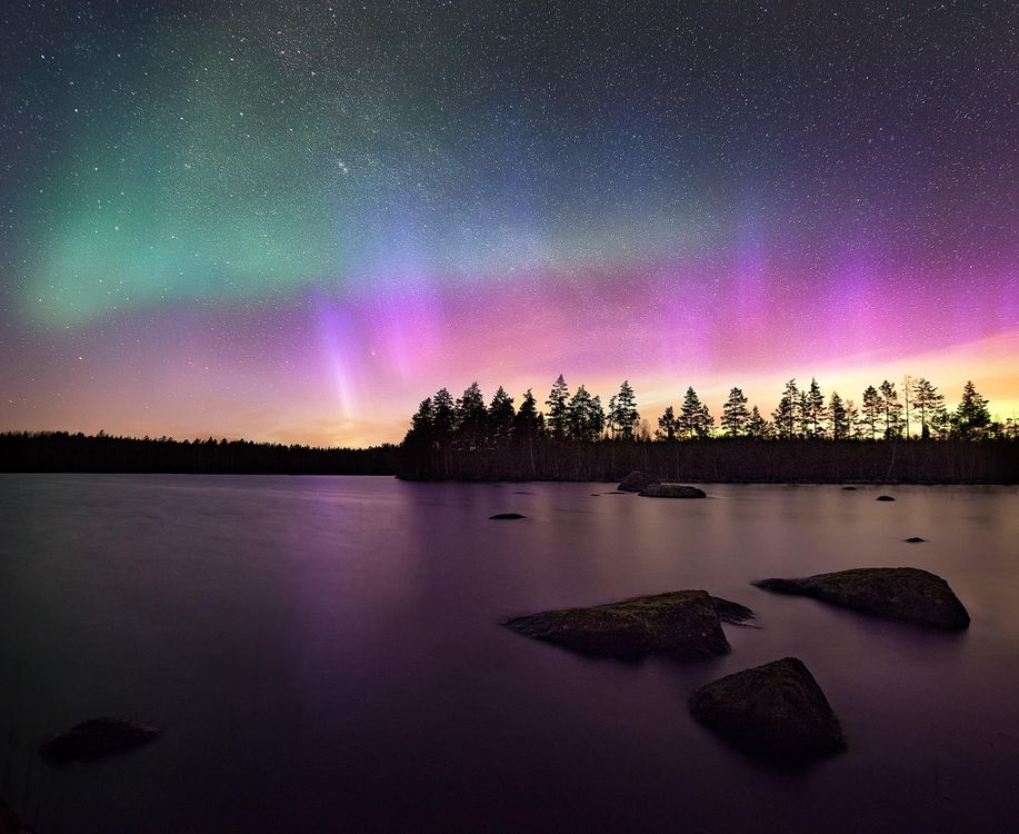 Фото бесплатно озеро, ночь, свечение, сияние, деревья, пейзаж, пейзажи