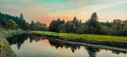 Бесплатные фото закат, река, лес, деревья, пейзаж, панорама