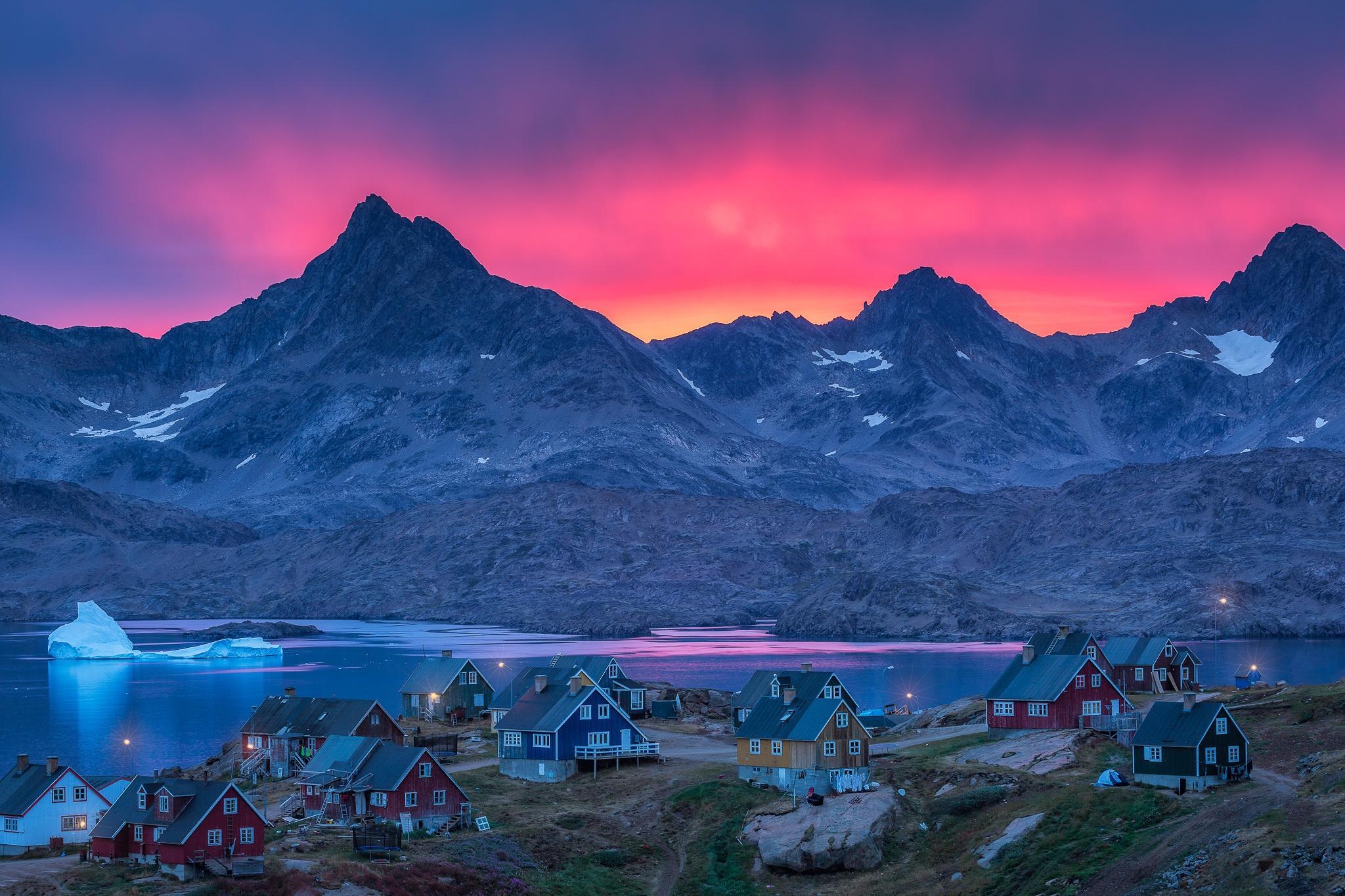 Гренландия, закат, озеро